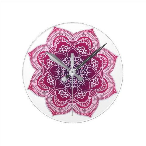 Red Mandala Wall Clock
