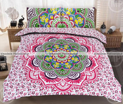 Rainbow Mandala Queen Size Bedding