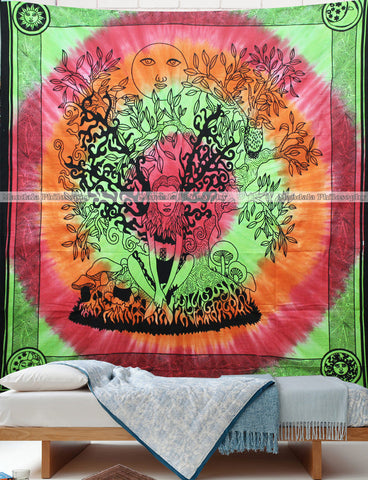 Tie-Dye Tree Of Life Queen Size Mandala Cover