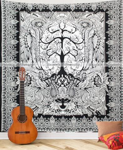 Black Tree Of Life Queen Size Mandala Cover