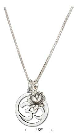 OHM Symbol Necklace With Lotus Flower