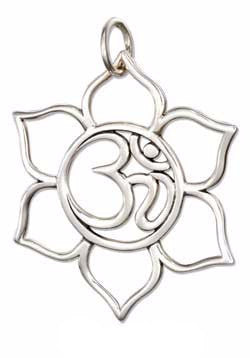 OPEN OM OR OHM Symbol in Lotus Flower Charm