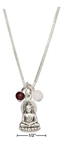 Sitting Buddha Pedant Necklace With Garnet & Rose Quartz Beads