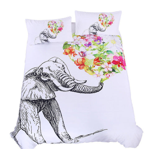 Elephant and Flowers Duvet Cover Set