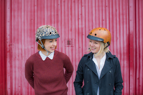 2 girls with sawako bike helmets