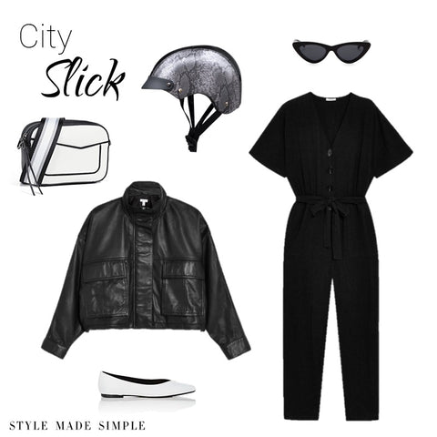 City Slick style by Style Made Simple inspired by Sawako black Python helmet