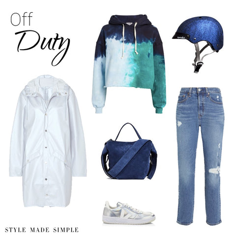 Off Duty look styled by Style Made Simple, inspired by Sawako navy glitter helmet