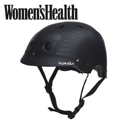 black crocodile helmet on Women's Health