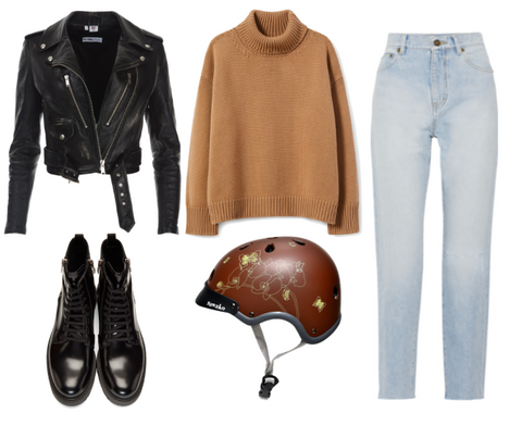 Autumn fashion styling with Sawako brown ran helmet