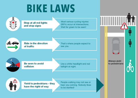 bike laws : link to NYC DOT bike safety page