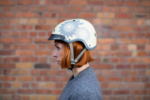 Hanabi Beige Yellow Bicycle Helmet Model photo
