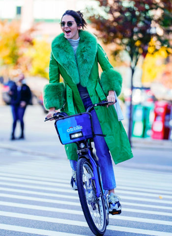 Kendall Jenner cycling on a citibike