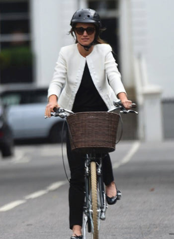 Pippa Middleton in Sawako helmet riding a bike in London