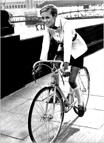 Twiggy on bike