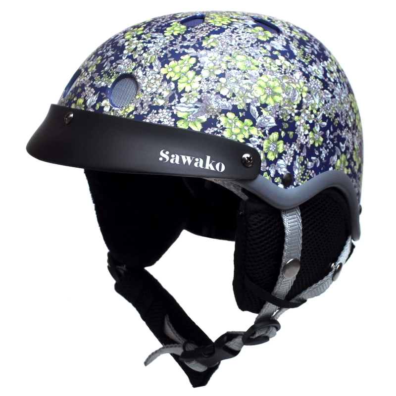 Floral Midnight Blue Ski - Sawako: The stylish helmets