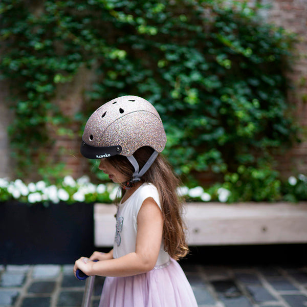 sparkle kid helmet on 5 year old girl scooting