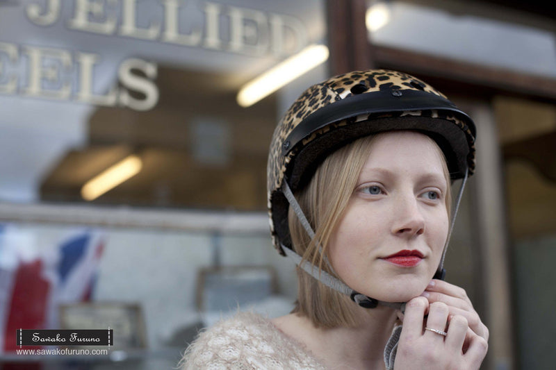 Sawako Leopard bike helmet on model London