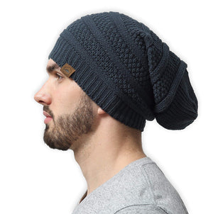 Slouchy Cable Knit Beanie by Tough Headwear - Chunky Oversized Beanie Hats Serious Beanie Hats for Men & Women - Perfect for Old Man Winter - Serious Beanies for Serious Style