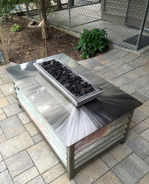 Impact Fire Table Rectangular fire pit Boise Idaho salvaged corrugated steel side panel burning natural gas