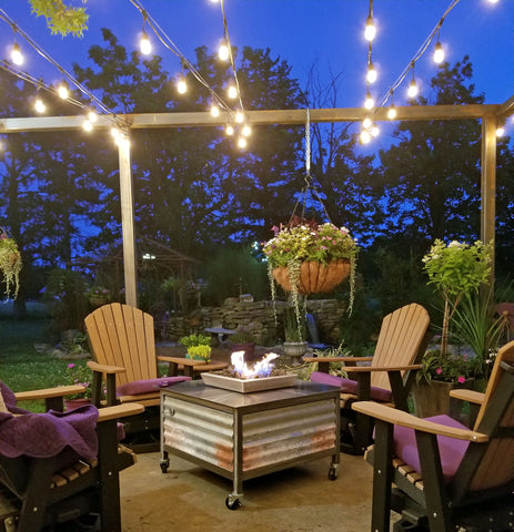 Square Impact Fire Table in the outdoor entertaining area of an El Dorado Kansas residence.