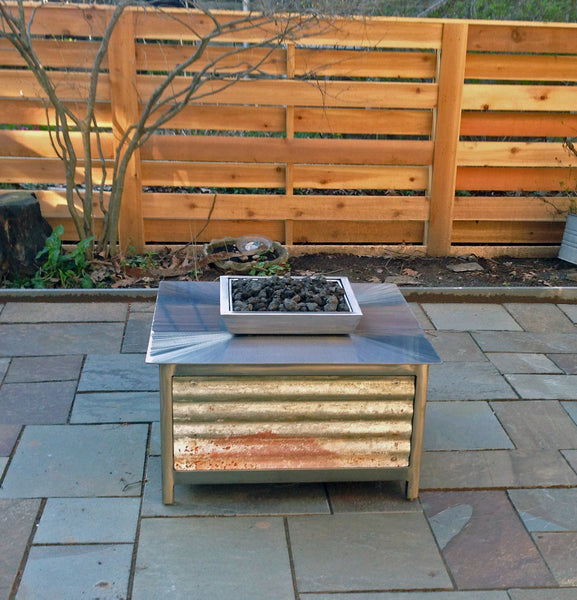 Impact Fire Table fire pit in Mount Airy Pennsylvania with corrugated steel side panels burning propane gas