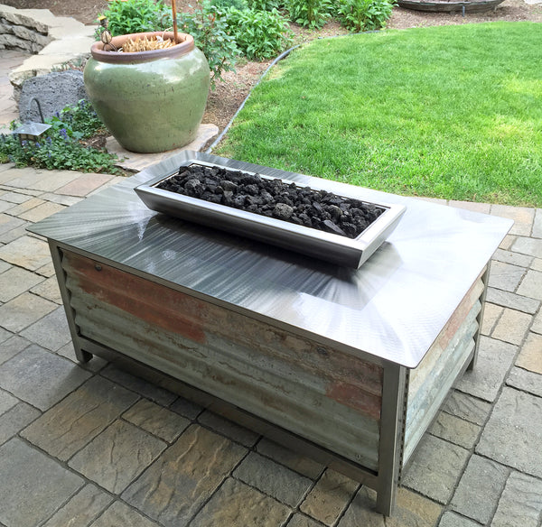 Impact Fire Table in Boise Idaho rectangular with corrugated steel side panels burning propane