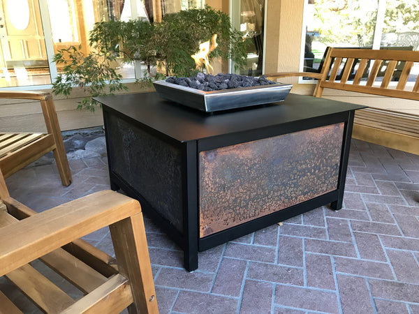 Outdoor propane gas burning firepit fire pit table located in Eagle, Idaho, from IMPACT fire tables