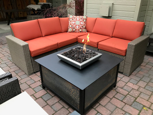 Outdoor gas burning square IMPACT Fire pit table firepit located in west Boise Idaho paver patio