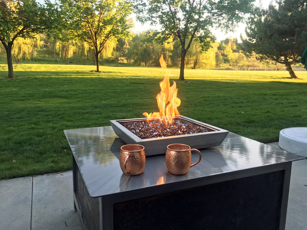 Impact Fire Table fire pit Eagle Idaho raw steel side panel burning natural gas