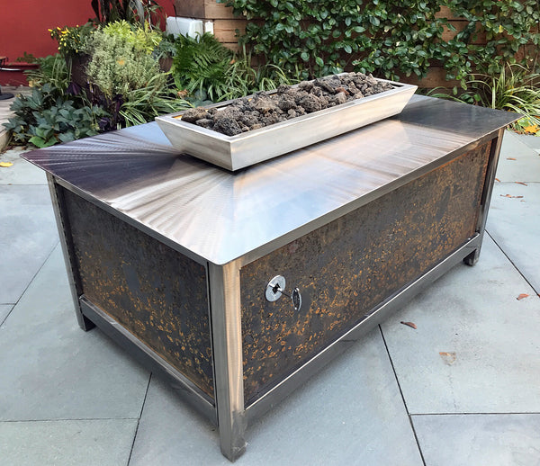 IMPACT Fire Table rectangular with raw steel side panels at Adams Residence in north Philadelphia