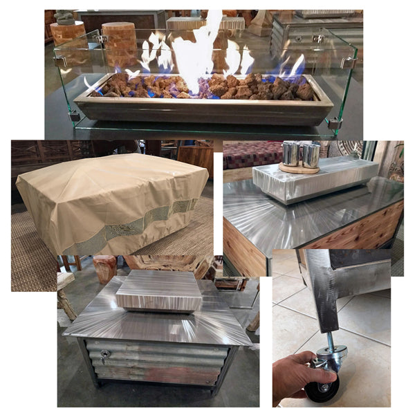 IMPACT Fire Table accessories including caster wheels, polyester covers, tempered glass wind guard screens and hand brushed stainless steel firebox covers.