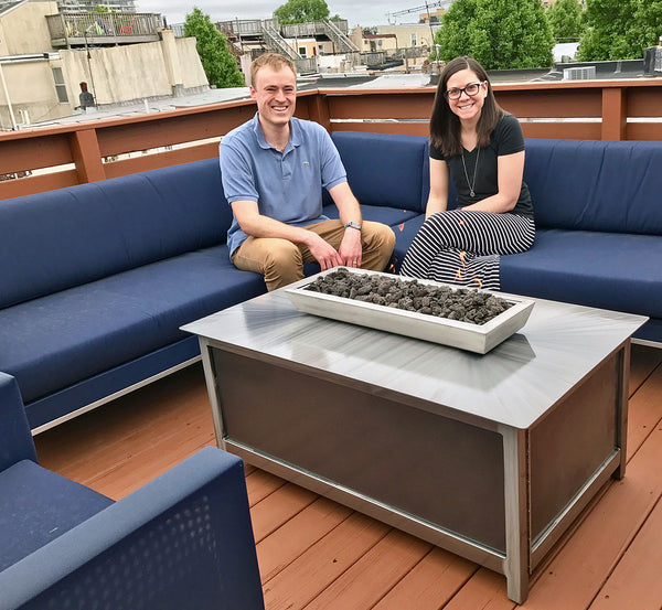 Gas burning Impact Fire Table fire pit Philadelphia Pennsylvania rooftop deck silver vein side panel burning propane gas