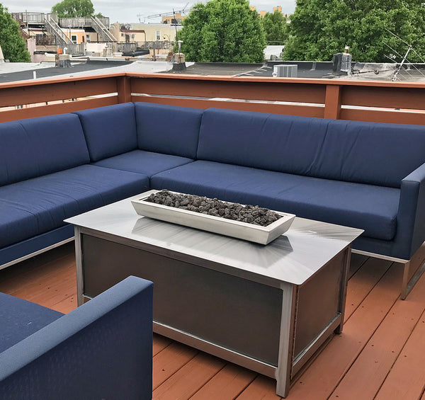 Impact Fire Table fire pit Philadelphia Pennsylvania rooftop deck silver vein side panel burning propane gas