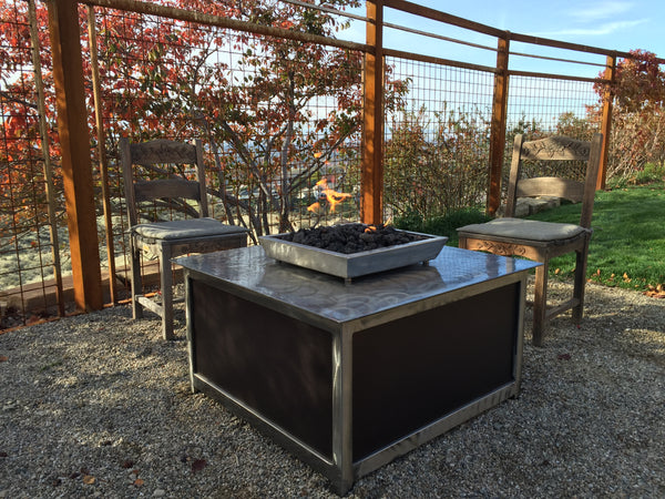 Impact Fire Table Fire Pit Boise Idaho Foothills square steel shape burning propane gas