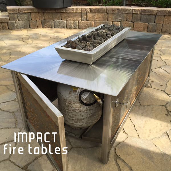 Impact Fire Table fire pit rectangular shape with raw steel side panel burning propane gas
