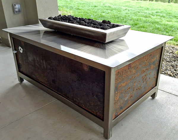 Impact Fire Table rectanguler fire pit Boise Idaho salvaged raw steel side panel burning natural gas