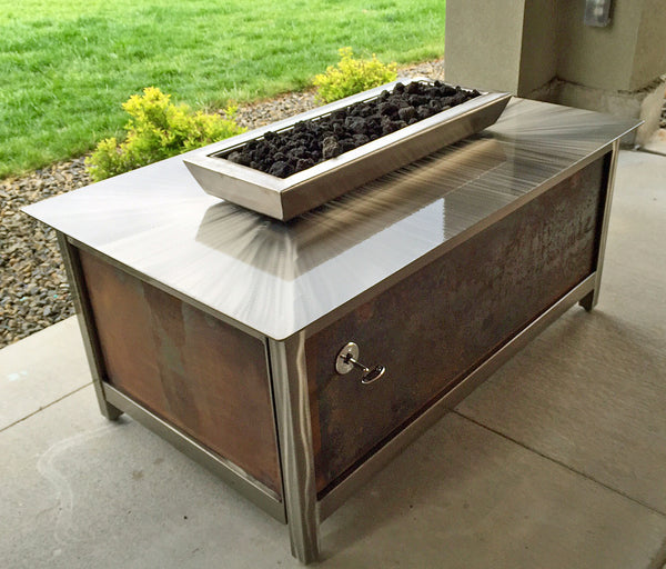 Impact Fire Table rectangular fire pit Boise Idaho salvaged raw steel side panel burning natural gas