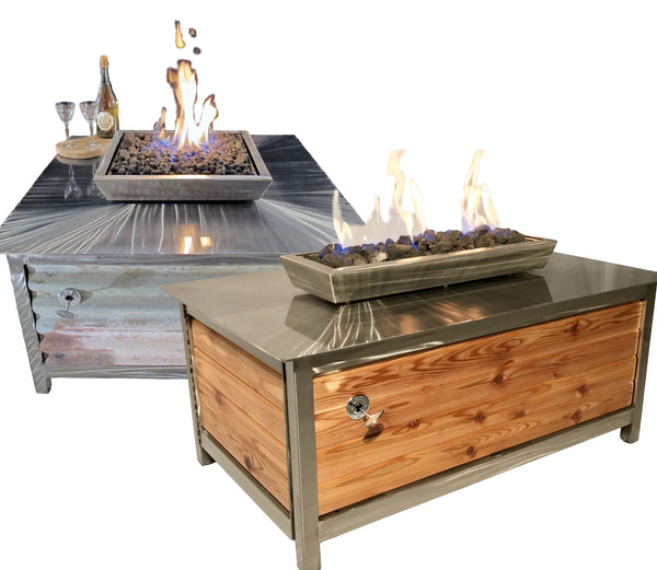 A picture of a square and a rectangular stainless steel gas burning fire pit from IMPACT fire tables.
