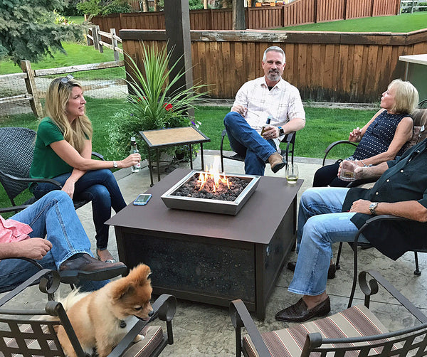Outdoor propane or natural gas burning heavy duty steel square fire table located in east Boise Idaho.  IMPACT fire tables
