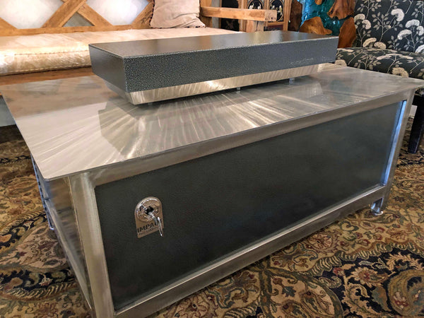 A heavy duty steel rectangular shape silver vein powder coated firebox cover for a modern industrial style heavy duty steel or stainless steel IMPACT fire table to increase the overall usable table space when the fire is not burning.  Made in the USA America.