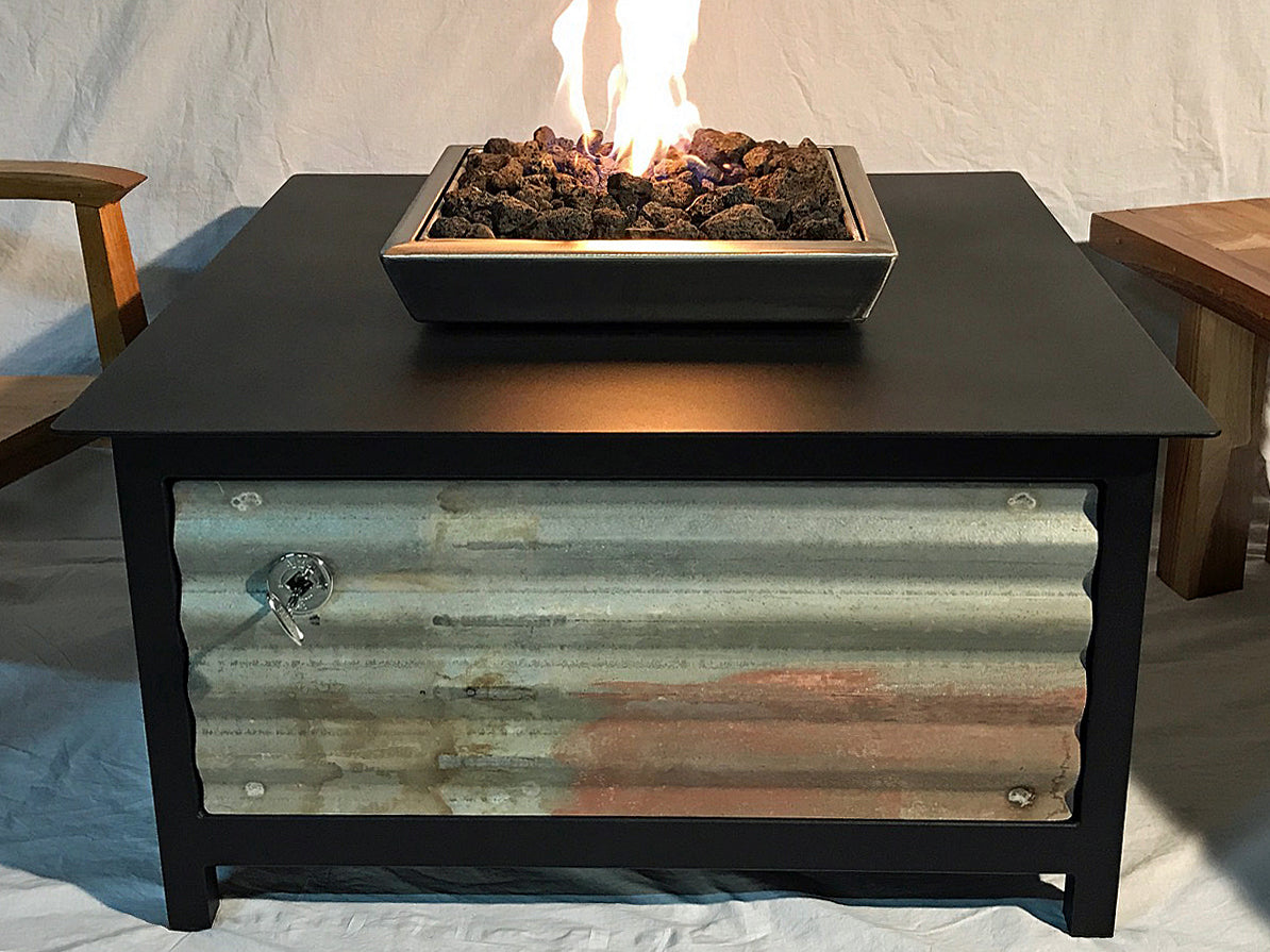 IMPACT Fire Table, Square, firepit or fire pit, Burn Natural Gas or Propane, Heavy Duty Steel, Raven Black frame and table top, Stainless Steel Firebox, Salvaged Corrugated Steel Side Panel Option, Made in the USA