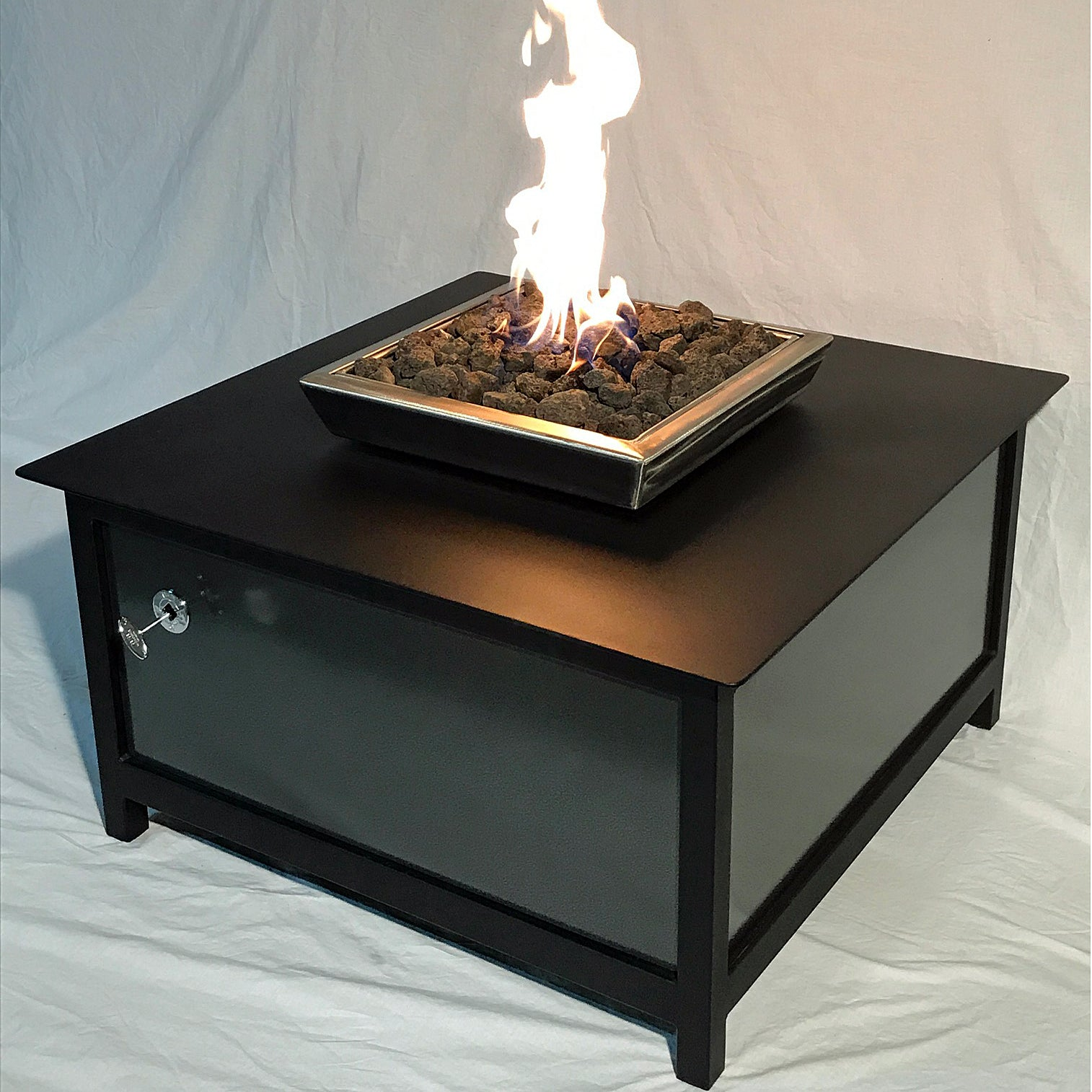 IMPACT Fire Table, Square, firepit or fire pit, Burn Natural Gas or Propane, Heavy Duty Steel, Raven Black frame and table top, Stainless Steel Firebox, Silver vein powder coated Steel Side Panel Option, Made in the USA