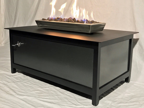 Heavy duty rectangular outdoor steel fire table with raven black frame and table top and silver vein powder coated steel side panels for burning propane or natural gas.