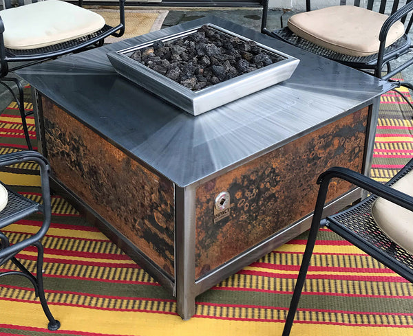 An Industrial Style Gas Fire Table • Stainless Steel • Square