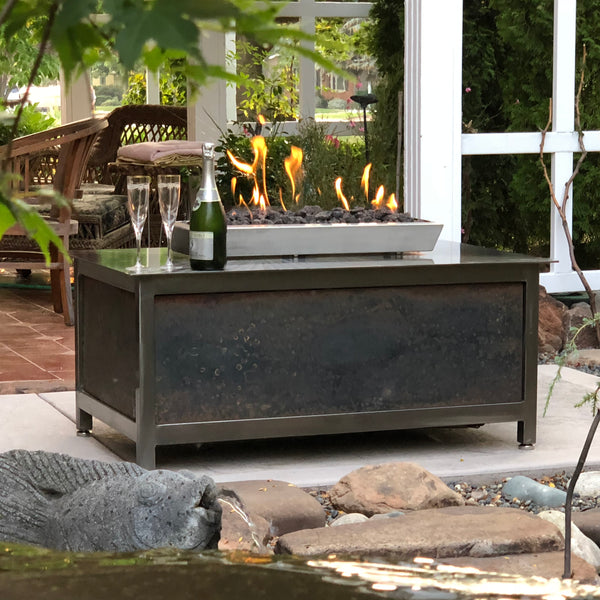 IMPACT Fire Table, stainless steel, hand brushed, powder coated clear, rectangular, best firepit or fire pit, burn natural gas or propane, salvaged raw steel side panel option, made in USA
