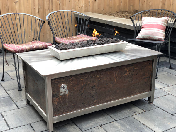 An Industrial Style Gas Fire Table • Stainless Steel • Rectangular