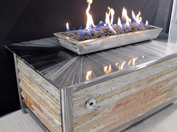 IMPACT Fire Table, stainless steel, hand brushed, powder coated clear, rectangular, best firepit or fire pit, burn natural gas or propane, salvaged corrugated steel side panel option, made in USA