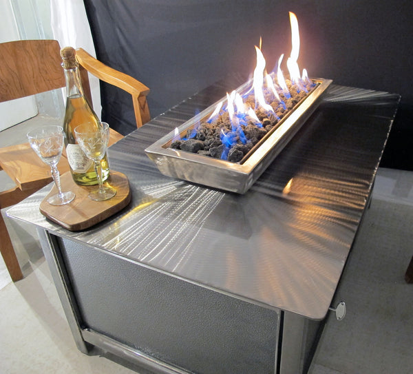 IMPACT Fire Table, stainless steel, hand brushed, powder coated clear, rectangular, best firepit or fire pit for burning natural gas or propane, silver vein powder coated steel side panel option, made in USA