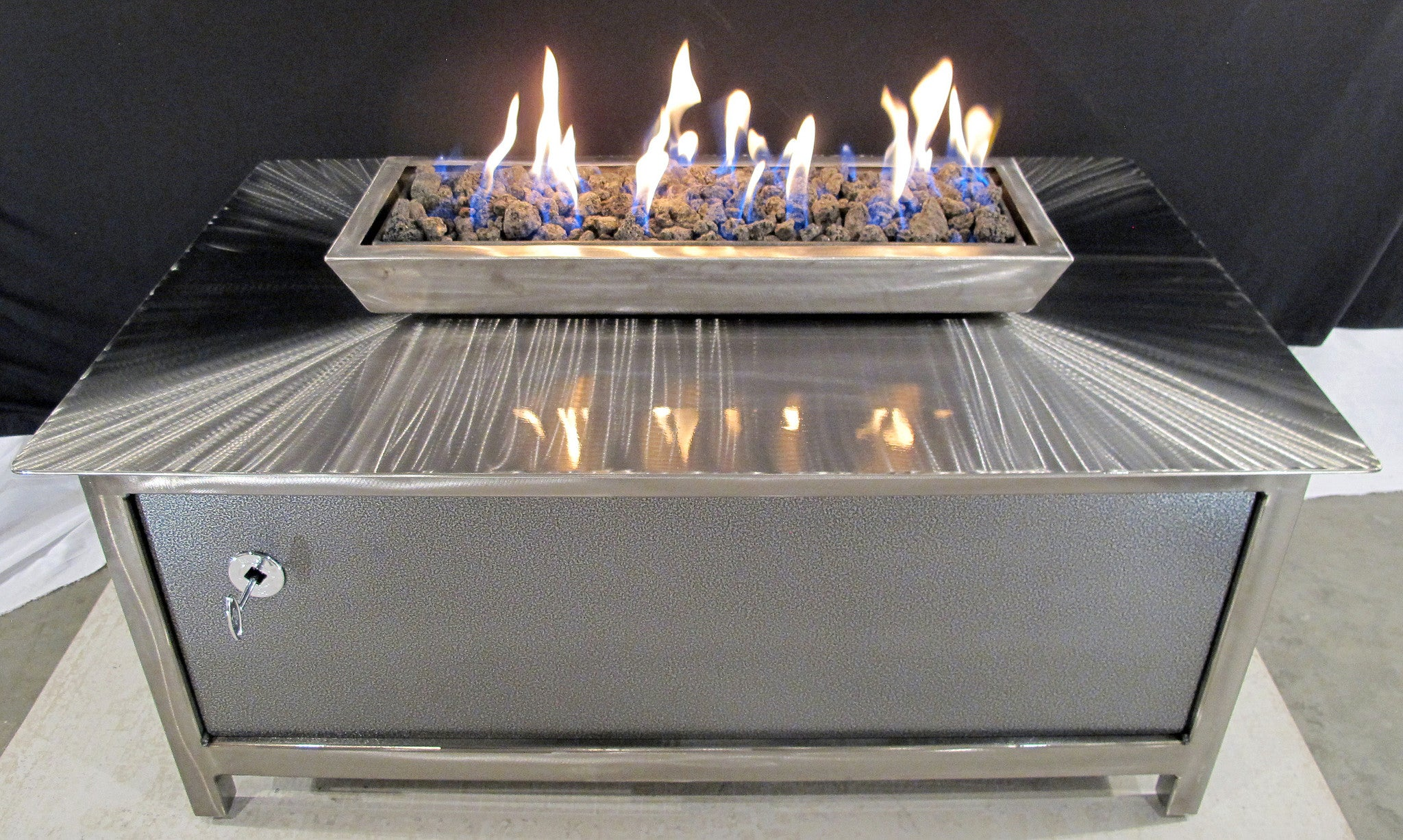 IMPACT Fire Table, Stainless Steel, Hand Brushed, Powder Coated Clear,  Rectangular,