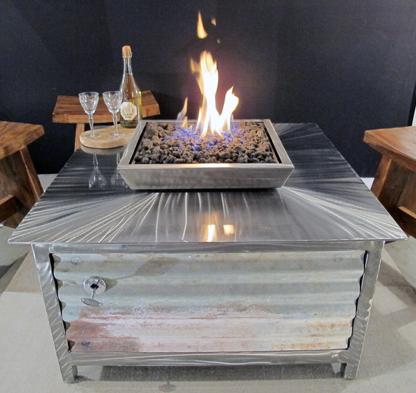 IMPACT Fire Table, stainless steel, hand brushed, powder coated clear, square, best firepit or fire pit, burn natural gas or propane, salvaged corrugated steel side panel option, made in USA